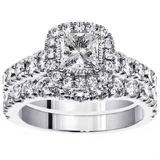 platinum 3ct tdw princess diamond bridal ring set - Platinum Wedding Ring Sets