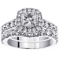 Platinum 3ct TDW Princess Diamond Bridal Ring Set