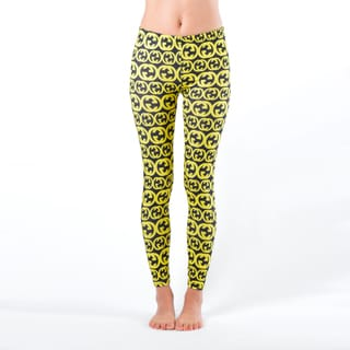 Juniors' Yellow and Black Printed Leggings