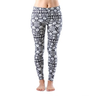 Juniors' White and Black Printed Leggings