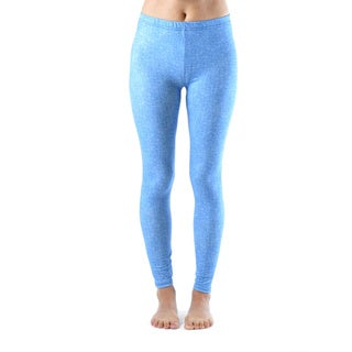 Juniors' Baby Blue Denim Print Ankle Leggings
