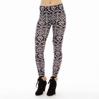 Juniors' Ankle Length Black and White Printed Leggings