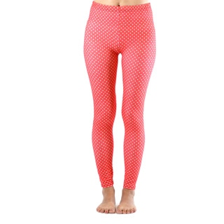 Juniors' Ankle Length Red and White Polka Dot Leggings