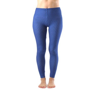 Juniors' Ankle Length Blue and White Polka Dot Leggings