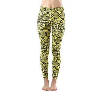 Juniors' Ankle Length Yellow Printed Leggings