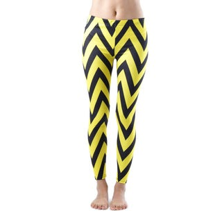 Juniors' Ankle Length Chevron Yellow Leggings