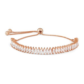 Gioelli Rose Goldplated Sterling Silver Marquise-cut Cubic Zirconia Adjustable Bracelet