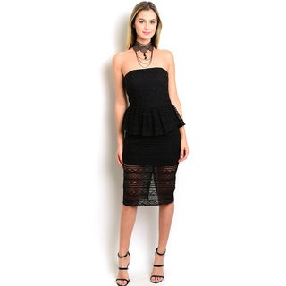 Shop the Trends Women's Strapless Lace Bodycon Dress With Partial Lining And A Peplum Waist Design