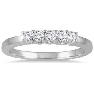 Marquee Jewels 14k White Gold 1/4ct TDW Prong Diamond Wedding Band