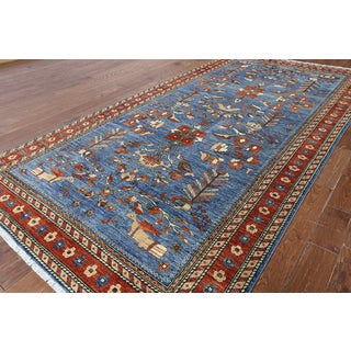 Hand-knotted Oriental Serapi Blue Wool Rug (6' 1 x 11' 10)
