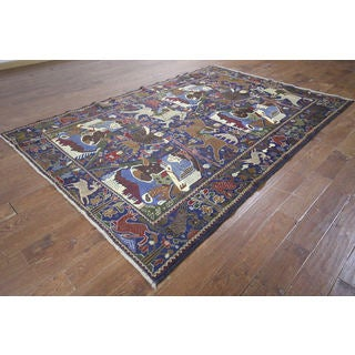 Hand-knotted Tribal Pictorial Wool and Wool Rug (6' 2 x 9' 1)