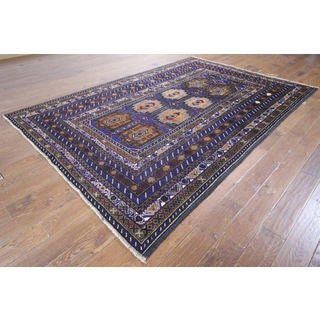Hand-knotted Afghan Navy Blue Wool Rug (6' 7 x 9' 9)