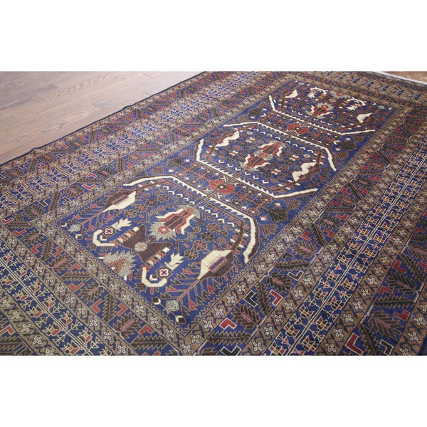 Hand Knotted Tribal Afghan Navy Wool Rug 6 6 X 9 9