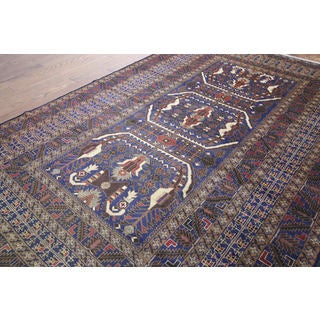 Hand-knotted Tribal Afghan Navy Wool Rug (6' 6 x 9' 9)