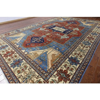 Hand-knotted Oriental Serapi Blue Wool Rug (