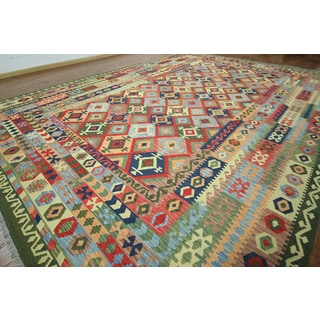 "Hand-knotted Reversible Kilim Multi Wool On Wool Rug (12' 4"""" X16'5)"