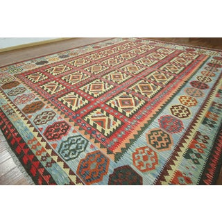 """Hand-knotted Reversible Flat Weave Kilim Multi Wool Rug (13'1""""""""x15'11)"""