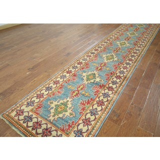 "Hand-knotted Kazak Blue Wool Runner (2' 10"""" X13' 2)"