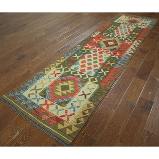 Hand-knotted Flat Weave Kilim Green-multi Wool Runner (2' 6 x 9' 5)
