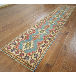 Hand-knotted Super Kazak Blue Wool Runner (2' 7 x 13' 1)
