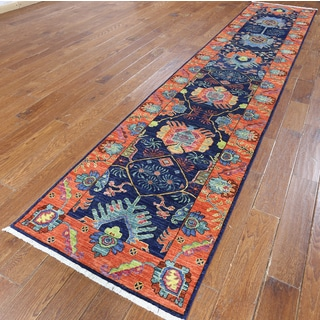Hand-knotted Oriental Art and Crafts Blue Wool Runner (2' 8 x 13' 9)