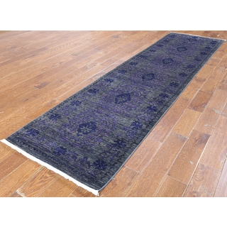 Hand-knotted Art Deco Oriental Purple Wool Runner (2' 8 x 10' 6)