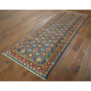 Hand-knotted Kazak Blue/ Red Wool Runner (2' 8 x 7' 8)
