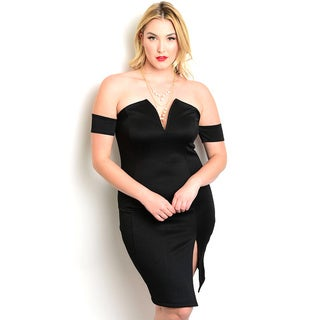 Shop the Trends Women's Plus Size Off The Shoulder Bodycon Dress With Side Slit And A Sweetheart Neckline