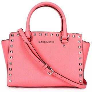 Michael Kors Selma Stud Medium Coral Top Zip Satchel Handbags