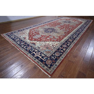 Hand-knotted Serapi Rust/ Navy Wool Rug (8' 9 x 18' 0)