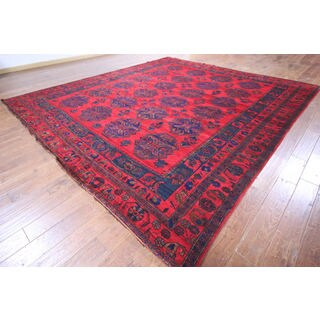 Hand-knotted Afghan Bokhara Red Wool Rug (10' 9 x 12' 2)