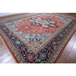 Hand-knotted Heriz Serapi Red/ Navy Wool Rug (12' 0 x 14' 10)