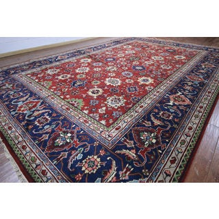 Hand-knotted Oriental Serapi Red and Navy Blue Wool Rug (12' 0 x 17' 10)