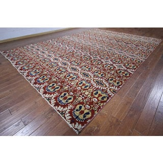 Hand-knotted Modern Ikat Wool Rug (10' 4 x 14' 3)