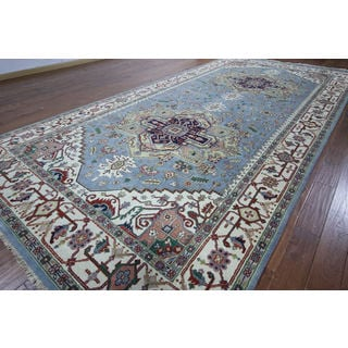 Hand-knotted Heriz Blue Wool Runner (7' 11 x 16' 2)