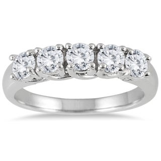 Marquee Jewels 14k White Gold 1ct TDW 5-stone Diamond Wedding Band (I-J, I2-I3)
