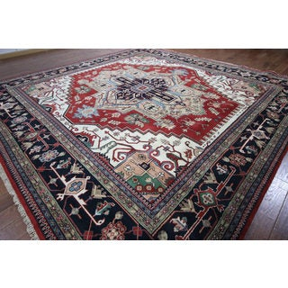 Hand-knotted Oriental Serapi Red/ Navy Wool Rug (12' 0 x 12' 0)