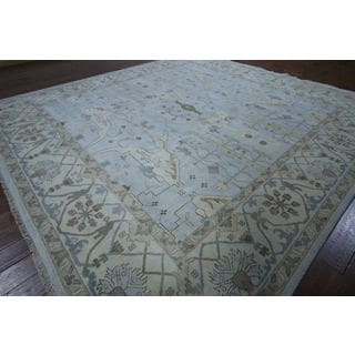 Hand-knotted Oriental Light Blue Wool Rug (11' 0 x 11' 7)