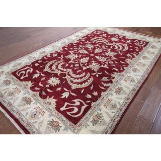 Hand-knotted Chobi Oushak Red Wool Rug (6' 0 x 9' 6)