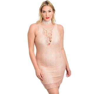 Shop the Trends Women's Plus Size Sleeveless Lace Bodycon Dress