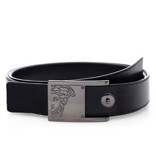 Versace Collection Black Leather Half Medusa Belt 110