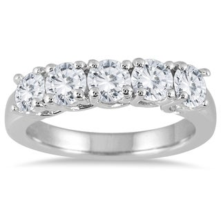 Marquee Jewels 14k White Gold 1 1/2ct TDW Prong Set 5-stone Diamond Wedding Band