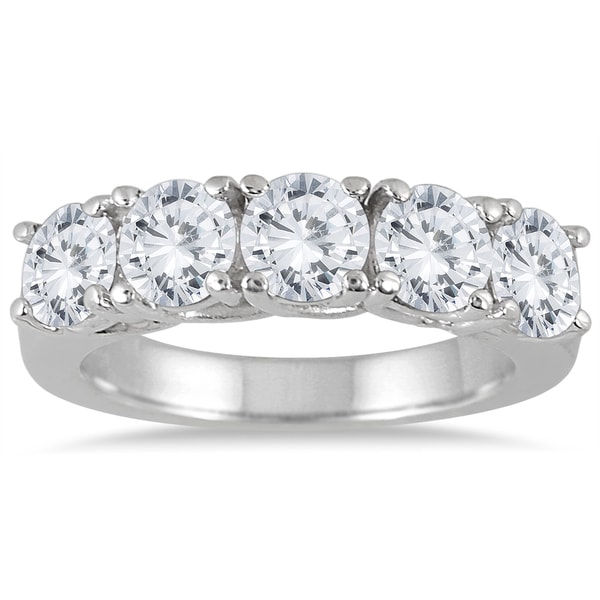 Marquee Jewels 14k White Gold 2 1/2ct TDW Large 5-stone Diamond Wedding Band (J-K, I2-I3)