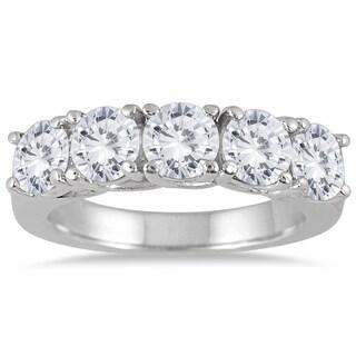 Marquee Jewels 14k White Gold 2 1/2ct TDW Large 5-stone Diamond Wedding Band (J-K, I2-I3)