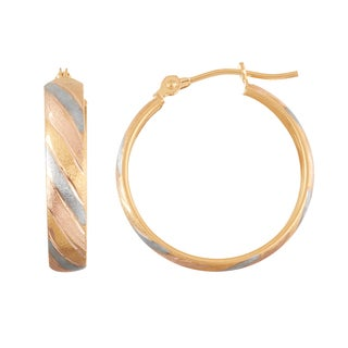Gioelli 10k Tricolor Gold Satin Finish Hoop Earrings