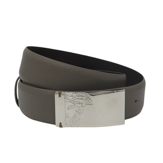 Versace Collection Taupe Saffiano Leather Half Medusa Belt