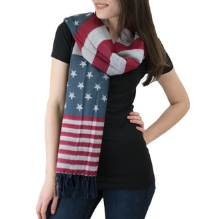 Le Nom American Flag Stars & Stripes Fringe-end Blanket Scarf
