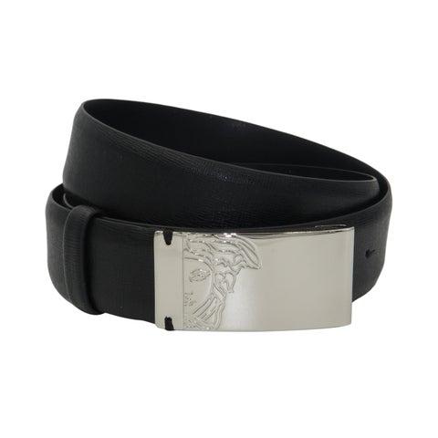 Versace Collection Black Saffiano Leather Half Medusa Belt
