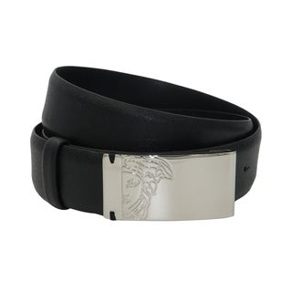 Versace Collection Black Saffiano Leather Half Medusa Belt (5 options available)