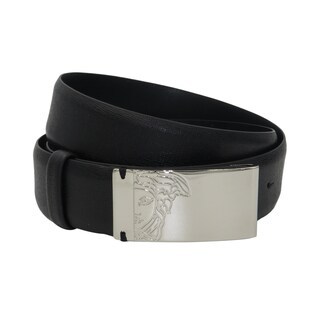 Versace Collection Black Saffiano Leather Half Medusa Belt